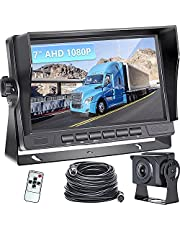 Podofo Backup Camera AHD 1080P Car Rear View Camera with Stable Signal 7-inch LCD Monitor Night Vision Waterproof Easy Installation, Suitable for Cars, Trucks, Vans, Campers