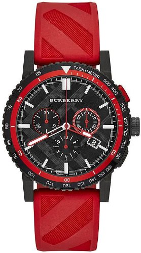 burberry the city red rubber chronograph mens watch bu9805 burberry the city red rubber chronograph mens watch bu9805 burberry amazon ca watches