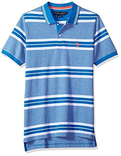 U.S. Polo Assn. Men's Short Sleeve Classic Fit Striped Pique Polo Shirt, Flight Blue Kjbk, M