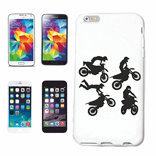 """cas de téléphone iPhone 7 """"SILHOUETTE MOTOCROSS EXTREME SPORTS DE PLEIN AIR MOTOCROSS BIKE CROSS BIKE FREESTYLE"""" Hard Case Cover Téléphone Covers Smart Cover pour Apple iPhone en blanc"""