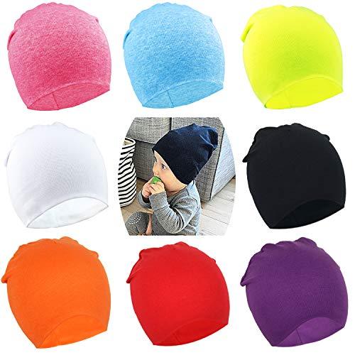 DRESHOW BQUBO 8 Pack Unisex Baby Beanie Hat Infant Baby Soft Cute Knit Cap Nursery Beanie - Hat Sweater Knit