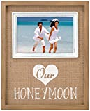 "Malden International Designs Burlap Wall Sentiments Silkscreened ""Our Honeymoon"" Picture Frame, 4x4, Tan"
