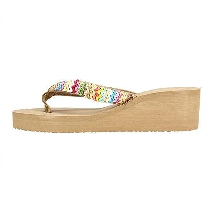 deb36bb30 LuckyGirls Sandalias Mujer Chancleta Verano Crochet Bohemia Estilo  Antideslizante Moda Cómodos Casual Zapatos Chanclas Playa Zapatillas