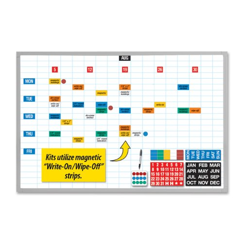 Magna Visual EBK-2436 Magna Visual Lustreboard Planning Kit, Porcelain-On-Steel, 36x24, WE/Aluminum by Magna Visual