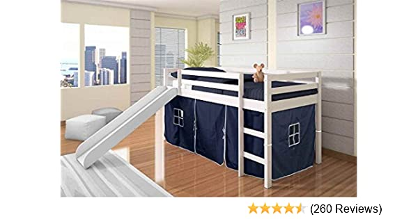 Amazoncom Donco Kids Twin Tent Loft Bed With Slide Finish White