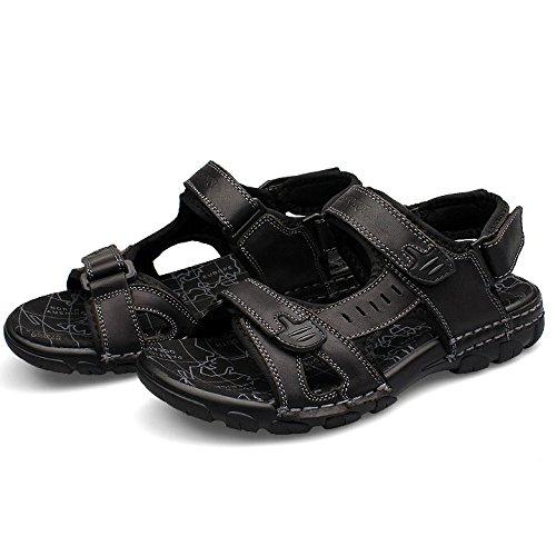 Zapatos para Black Verano Hombres Sandalias Libre Punta con Sandalias Cuero Trekking Abierta De Al Aire Deportivas De HGDR De qUXZEwX