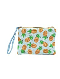 Coin Purse Cosmetic Makeup Bag Cell Phone Purse Pouch with Wrist Strap, Gift for Women (Pineapple Blue)