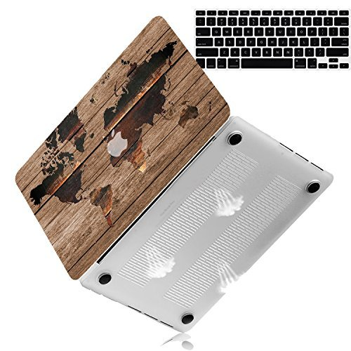 (Bizcustom Macbook Air 13 2010-2017 Wood Grain with World Map Designed Hard Rubberized Case Cover Models: A1466/A1369,)