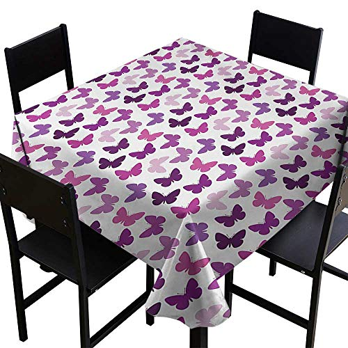 Butterfly Kitchen Table Cover Abstract Retro Butterfly Silhouettes Floral Springtime Girls Theme Image Tablecloth for Square Table Pink Purple Lilac