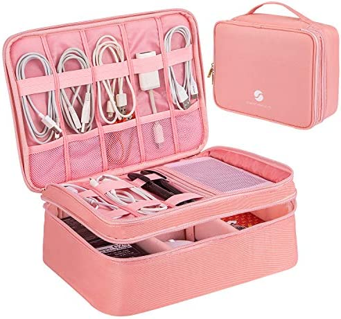 Travel Electronics Organizer, Waterproof Cable Organizer Bag for Electronic Accessories Double Layer Large Shockproof Cable Storage Bag for Cord, Power Bank, Tablet(Up to iPad 11 inch)- Rose Gold
