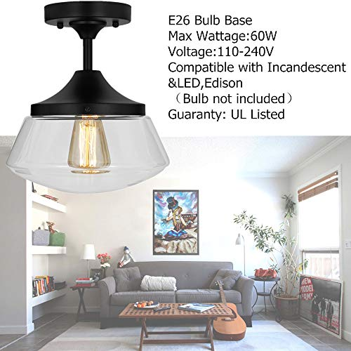 Industrial Semi-Flush Mount Ceiling Light, 10'' Clear Glass Schoolhouse Farmhouse Pendant Lighting Fixture with Matte Black Finish, UL Listed by LAMPUNDIT (Image #4)