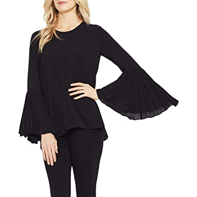 6a6e01d6f8f6 Vince Camuto Womens Pleated Bell Sleeve High-Low Hem Blouse at Amazon  Women's Clothing store: