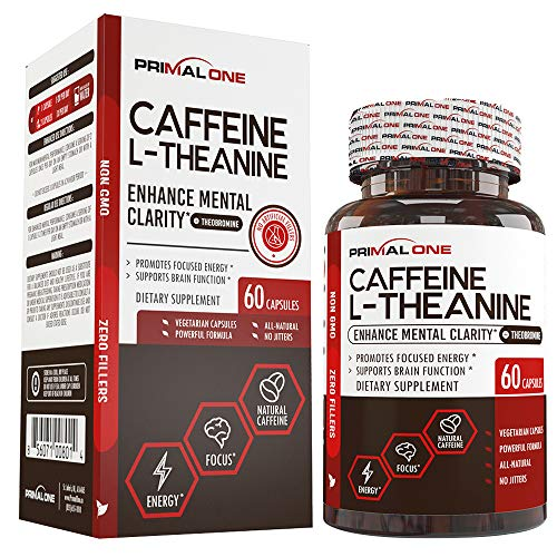 Caffeine with L-Theanine & Theobromine for Sustained Energy & Focus – Natural Nootropic Energy Supplement for Men & Women – 60 Veggie Pills