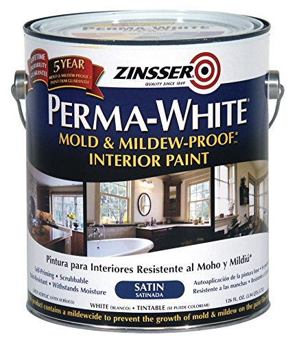 Rust-Oleum 3101 White Zinsser Perma-Mold and Mildew-Proof Exterior Satin Paint, 1 gal Can (Pack of 4)