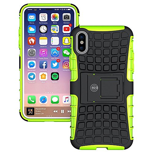 iPhone X Case, iPhone X Case by Cable and Case - [HEAVY DUTY] Tough Dual Layer 2 in 1 Rugged Rubber Hybrid Hard/Soft Impact Protective Cover [With Kickstand] Shipped from the U.S.A. - Green