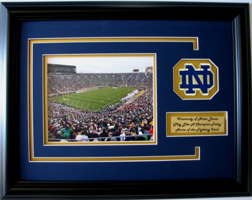 NCAA Notre Dame Fighting Irish Notre Dame Stadium Framed Landscape Photo with Team Patch and Nameplate