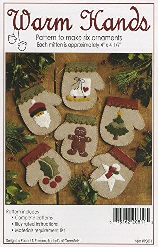 Warm Hands Christmas Ornament Felt Applique Pattern, Six (6) Ornament Designs ()