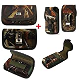 Camouflage Horizontal Rugged Canvas Case with Hook and Loop Closure and Camo Vertical Locking Rugged Canvas Case with Hook and Loop Closure for Motorola Moto Z3 Play Phone.