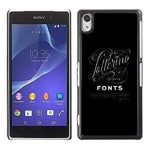 Fuentes de la caligrafía Cartas Negro Posters- Metal de aluminio y de plástico duro Caja del teléfono - Negro - Sony Xperia Z2