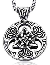 Mens Women's Celtic knot Magic Double Side Solid Heavy Pendant Necklace Men's Stainless Steel Box Chain Jewelry