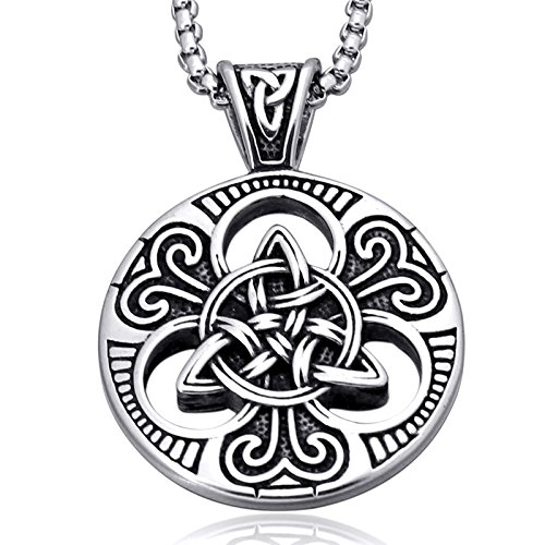 Mens Women's Celtic knot Magic Double Side Solid Heavy Pendant Necklace Men's Stainless Steel Box Chain Jewelry Length 23.6 (Mens Celtic Knot)