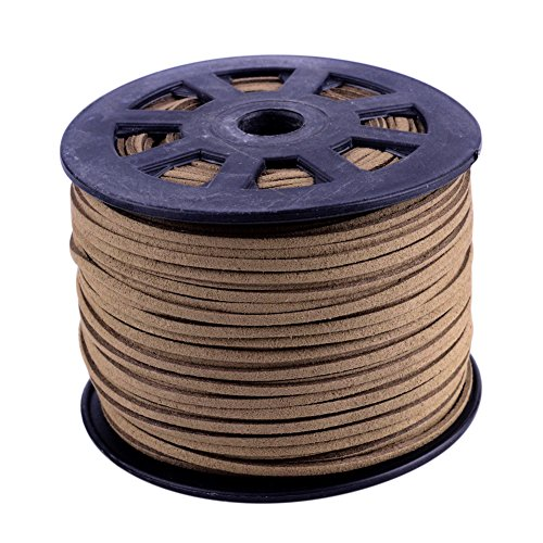 - NBEADS 3mm Camel Color Micro Fiber Flat Faux Suede Leather Cords Strip Cord Lace Beading Thread Braiding String 100 Yards/Roll for Jewelry Making