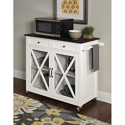 (Simple Interior Two Door Kitchen Cart - Multi Storage Sideboard Buffet - Modern Rolling Workstation with 2 Drawers and 2 Door Cabinet)
