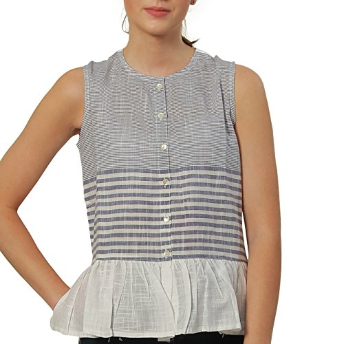 (Unkudu Women's White Striped Sleeveless Top Ruffle Peplum Shirt (White, Medium))