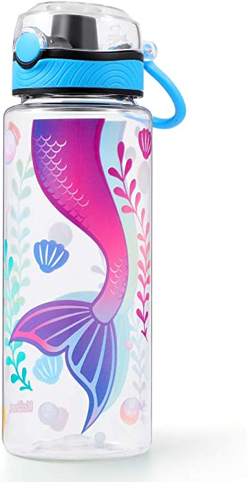 Cute Water Bottle for School Kids Girls, BPA Free Tritan & Leak Proof Flip Top Lid & Easy Clean & Carry Handle, 23oz/ 680ml