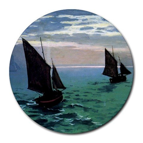 Le Havre - Exit the Fishing Boats From the Port By Claude Monet Round Mouse Pad