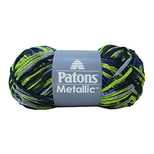 Patons  Metallic Variegates Yarn - (4) Medium Gauge  - 3 oz -   Green Villain -   For Crochet, Knitting & Crafting