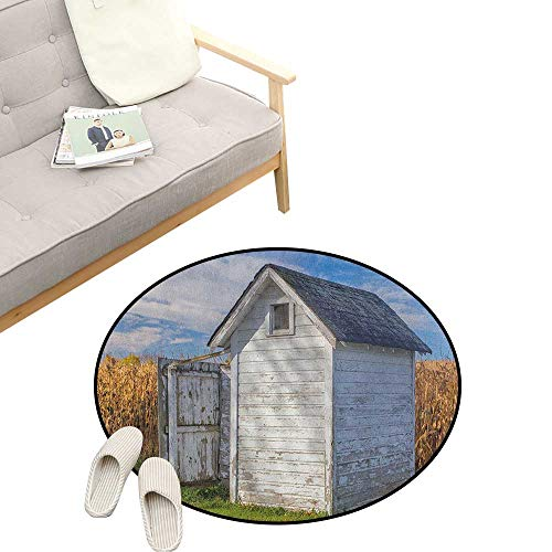 (Outhouse Round Area Rug ,Country Farm Life Cottage with Wheat and Grass Under Sky Image, Bedroom Living Room Study Room Kids Playing 23