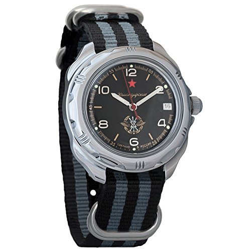 - Vostok Komandirskie Russian Signal Corps Army Mechanical Mens Military Commander Wrist Watch #211296 (Black+Grey)