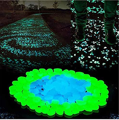 Pinkpaopao Glow Stones, Garden Decor Rocks, Glow in The Dark Stones for Outdoor, Home Decor Glow Pebbles, Pathway Stones for Garden Edge (Type1 - Blue Green Mixed - 200PC)