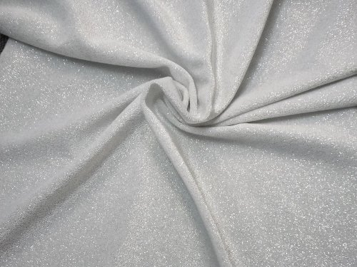 Glitter Infused 4-Way Stretch Velvet Fabric By The Yard - White With Silver Glitter 60