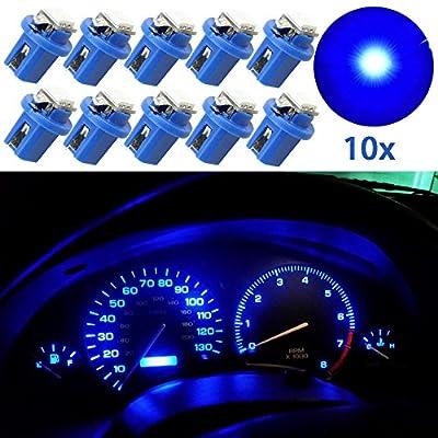 Guage Cluster Speedometer Light Bulbs - 10pcs Blue T5 B8.5D 5050 1SMD Led Dashboard Dash Cluster Speedmeter Instrument Panel LED Light Bulbs Kit 12V: Automotive