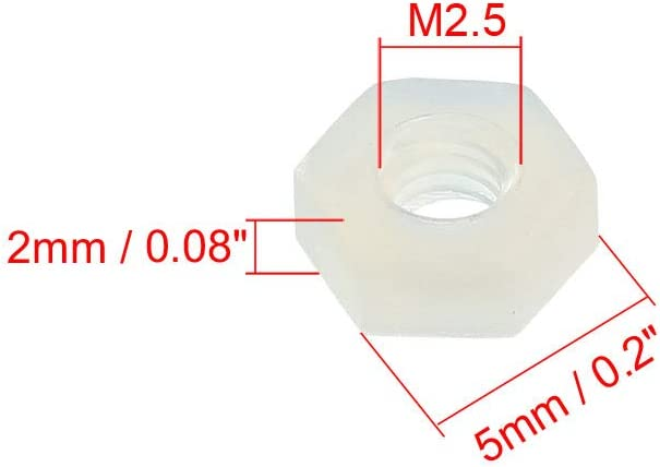 uxcell Nylon Hex Nut M2.5x0.45mm Metric Coarse Thread Hexagon Nuts 10 Pcs White