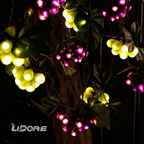 amazoncom lidore 100 led purplegreen grape string lights grapevine lights 10 cluster ul listed home improvement