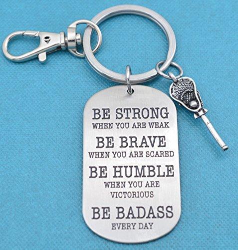 Mens or boys lacrosse dog tag keychain. Lacrosse key chain. Lacrosse Gifts. Lacrosse Mom. Be Badass Everyday.