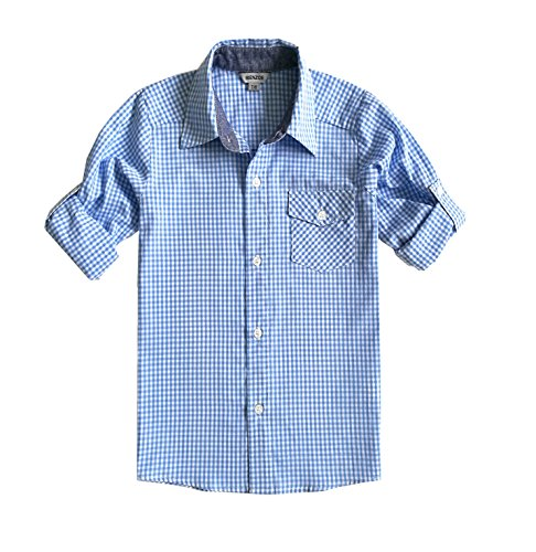 Bienzoe Boy's Cotton Plaid Roll Up Button Down Sports Shirts, LightBlue,13/14 ()