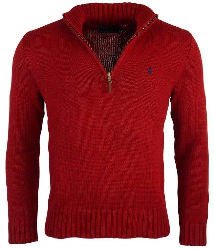 Ralph Lauren Cotton Half-Zip Sweater Large Red