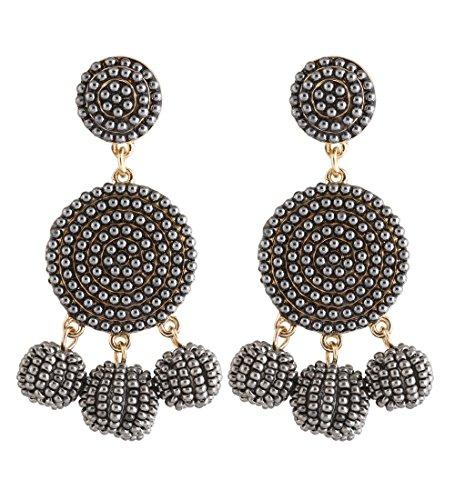 ELEARD Beaded Earrings Elegant Soriee Dangle Bead Disc Bead 3 Ball Dangle Ear Drop Bead Tassel Earrings for Women Girl (grey) - Hobe Beaded Earrings