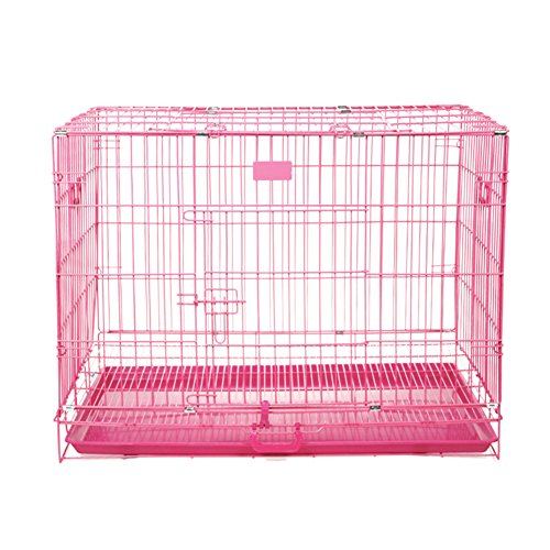 SL&ZX Folding metal dog crate,Dog cage cat cage small medium to large kennel covers stainless steel dog houses pet cage dog crates single door portable cat cage kennel-pink 46x30x38cm(18x12x15inch)