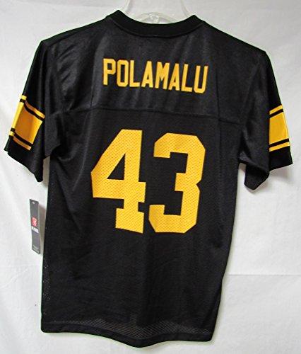 NFL Team Apparel Pittsburgh Steelers Troy Polamalu #43 Youth Size Large (14-16) Jersey Black A1 751 (Polamalu Jersey)