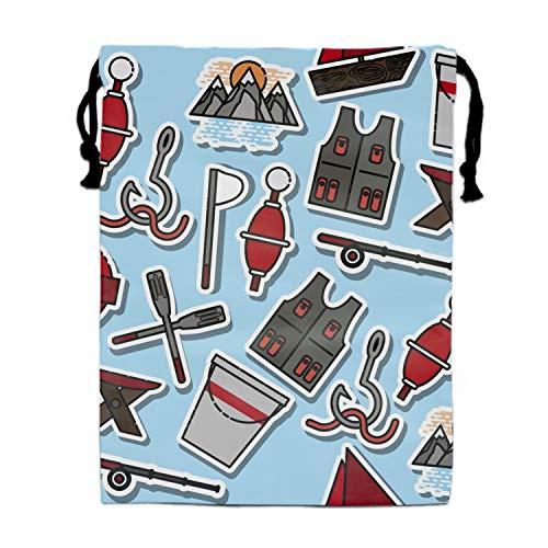 Colored Fishing Pattern Unisex Home Gym Sack Bag Sport Drawstring -