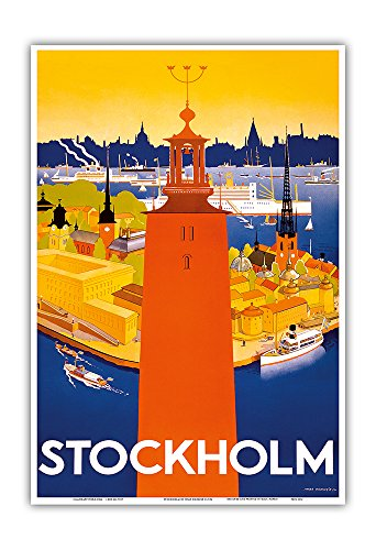 Stockholm - Sweden - Port of Stockholm and City Hall - Vintage World Travel