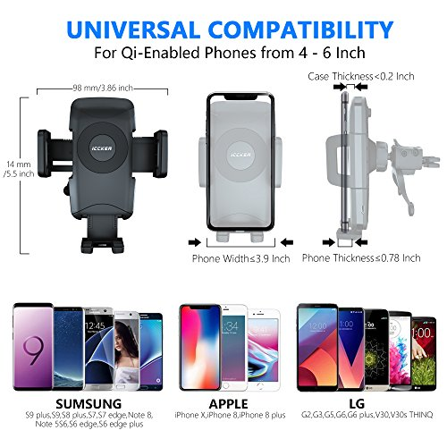 Wireless Car Charger Qi Fast Wireless Charger Air Vent Phone Mount 10W for iPhone X 8/8 Plus Galaxy S9 S9 Plus S8 S7/S7 Edge Note 8 5 Qi Devices etc by ICCKER (Image #3)
