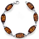 Baltic Amber Gallery Bracelet Sterling Silver Cognac Color