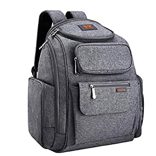 LOOTUS Diaper Bag Backpack Large Multifunction with Stroller Straps, Changing Pad and 2 Sundry Bag, Waterproof and Durable Oxford Baby Travel Bag for Mom and Dad