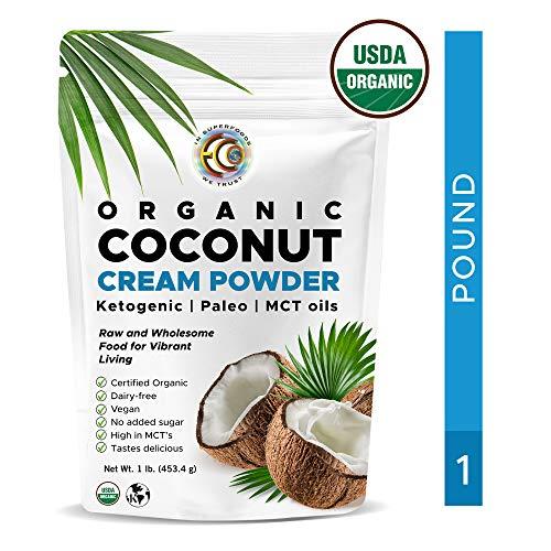 Earth Circle Organics -  organic coconut cream | milk powder,  perfect keto coffee creamer - high in mct oil,  vegan, no gluten or dairy  - 1 pound (Circle Earth Oil Organics Coconut)